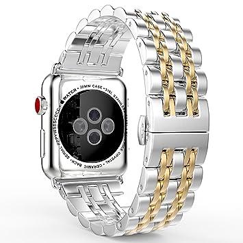 MoKo Correa para Apple Watch Series 4/3/2/1 - Reemplazo SmartWatch Band de Reloj de Acero Inoxidable Metálica Pulsera para 2015 & 2016 & 2017 & 2018 ...