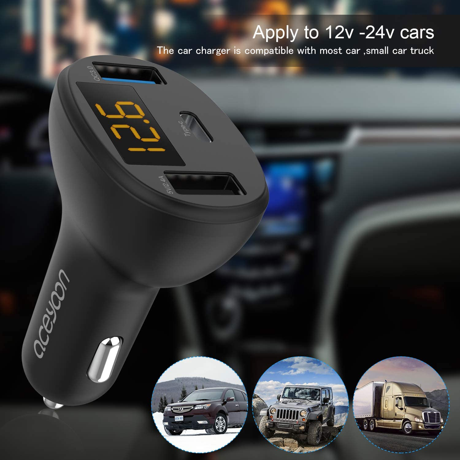 Note 8 Galaxy S10 aceyoon PD Car Charger USB C and Dual USB Ports QC 3.0 Fast Car Charging with LED Display 12V//24V Max 28W Car Charger Adapter Compatible for XS 2 XL Pixel 2 XR S9