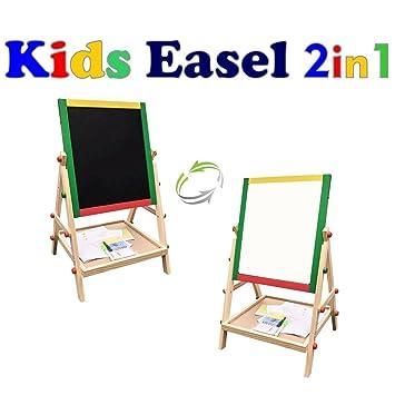 amazon com dulcii kids easel wooden double sided folding art