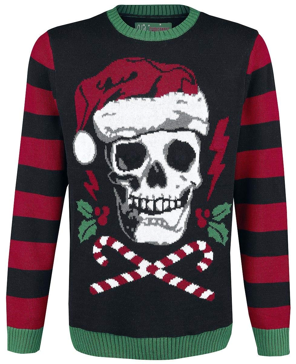 Ugly Christmas Sweater Men's Skull Santa Hat Light Up Pullover Sweatshirt