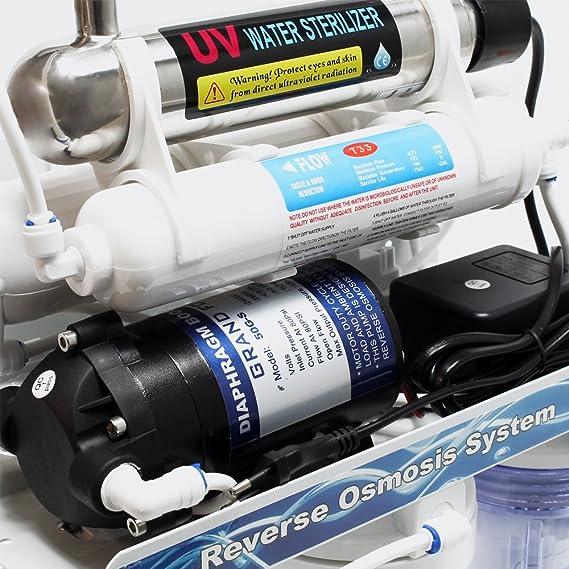Naturewater NW-RO50-A2UV Equipo osmosis inversa (RO) 6-Etapas Lámpara UV 180l/día Filtración de agua: Amazon.es: Hogar