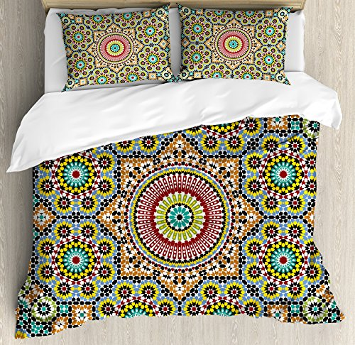 Moroccan Decor King Size Duvet Cover Set by Ambesonne, Aged old Arabic Design Arabian Cultural Engraving Art History Tourist Attraction, Decorative 3 Piece Bedding Set with 2 Pillow Shams by Ambesonne