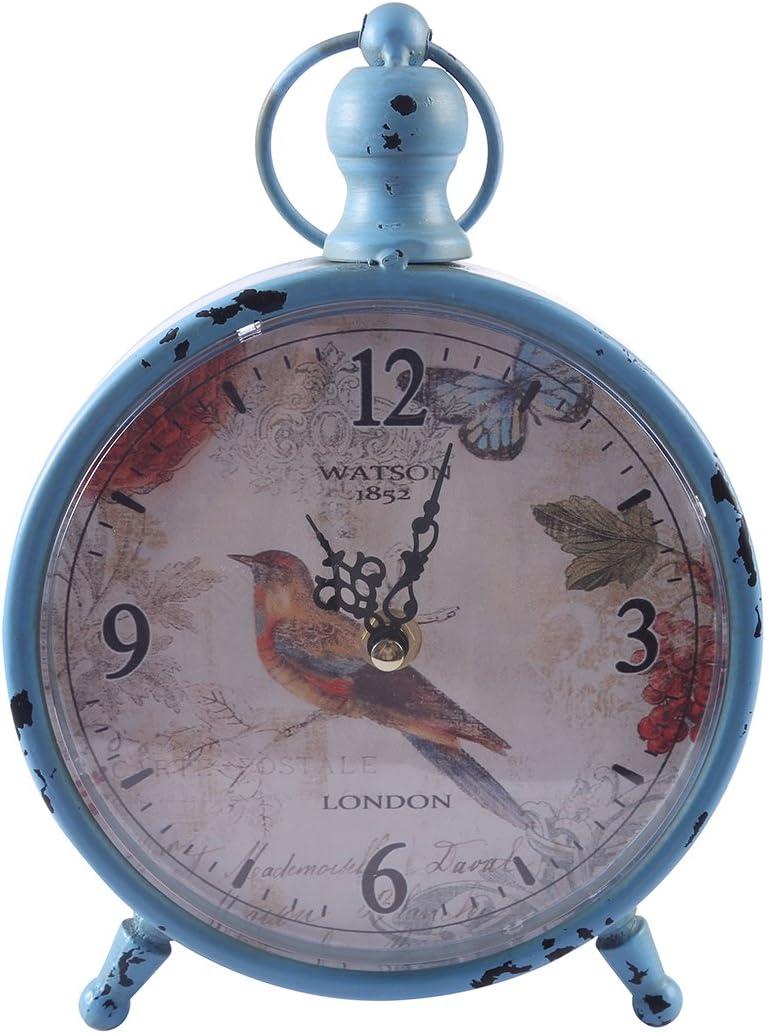 Tosbess Horloge de Table Quartz Vintage Shabby Design Bureau et /Étag/ère pour Salon Salle de Bain D/écoration