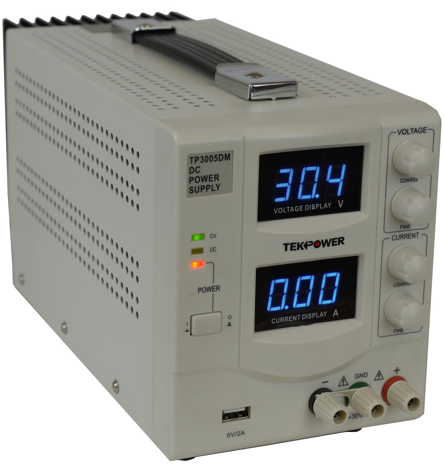 TekPower TP3005DM Linear Adjustable Digital DC Power Supply 30V 5A with a 5V/2A USB Port,Lab Grade, Super Clean and Quiet by Tekpower (Image #2)
