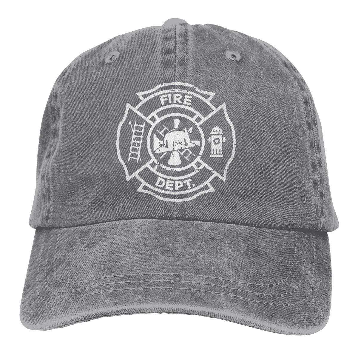 Adult Fashion Cotton Denim Baseball Cap Firefighter Logo Classic Dad Hat Adjustable Plain Cap