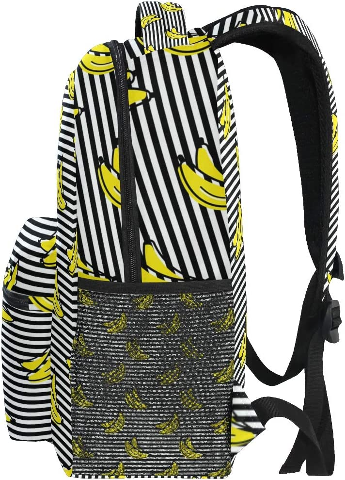 Yellow Banana with Black Stripe Daypack Backpack School College Travel Hiking Fashion Laptop Backpack for Women Men Teen Casual Schoolbags Canvas
