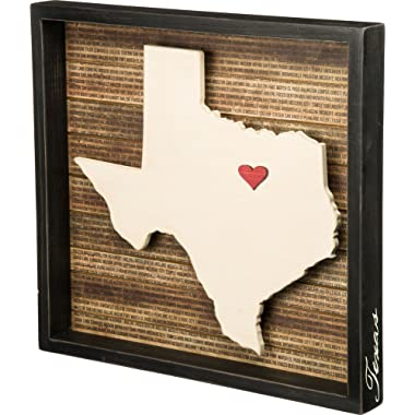 Primitives by Kathy Wanderlust Inset Box Sign, 16.5 x 15.5-Inches, Texas