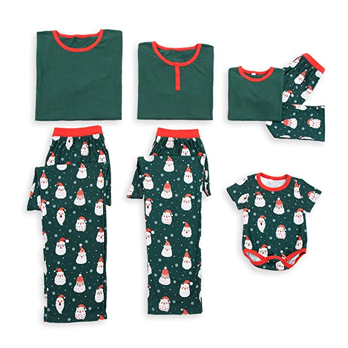 7e13defd6f PatPat Short Sleeve Christmas Family Matching Pajamas Sets Cute Santa Heads  Printed Sleepwear for Kids Women Men Dark Green at Amazon Men s Clothing  store
