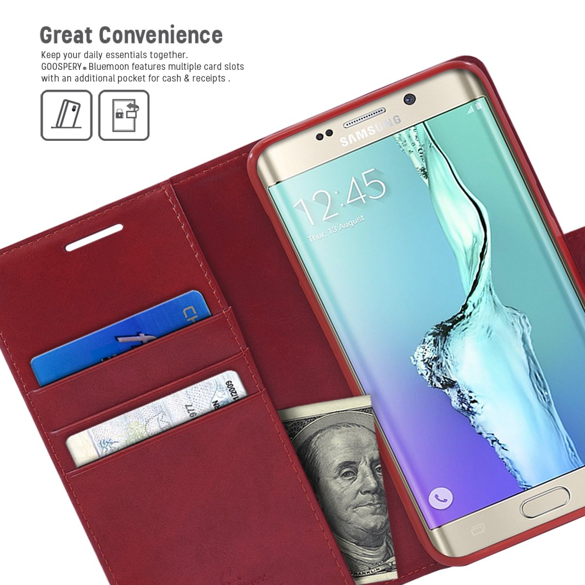 Galaxy S6 Edge Plus Case Drop Protection Goospery Iphone 8 Blue Moon Flip Hotpink Diary Wallet Smooth Synthetic Leather Texture Id Card Cash Slot W