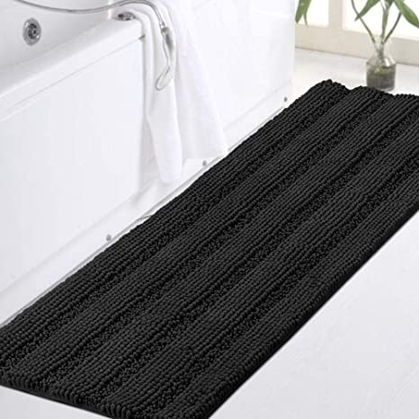 Amazon Com Turquoize Non Slip Shaggy Chenille Microfibers Bathroom Rug Black Bathroom Mat Extra Long Bath Rug 47 X 17 Kitchen Rugs And Mats Super Water Absorbent Soft Washable Bath Rug For