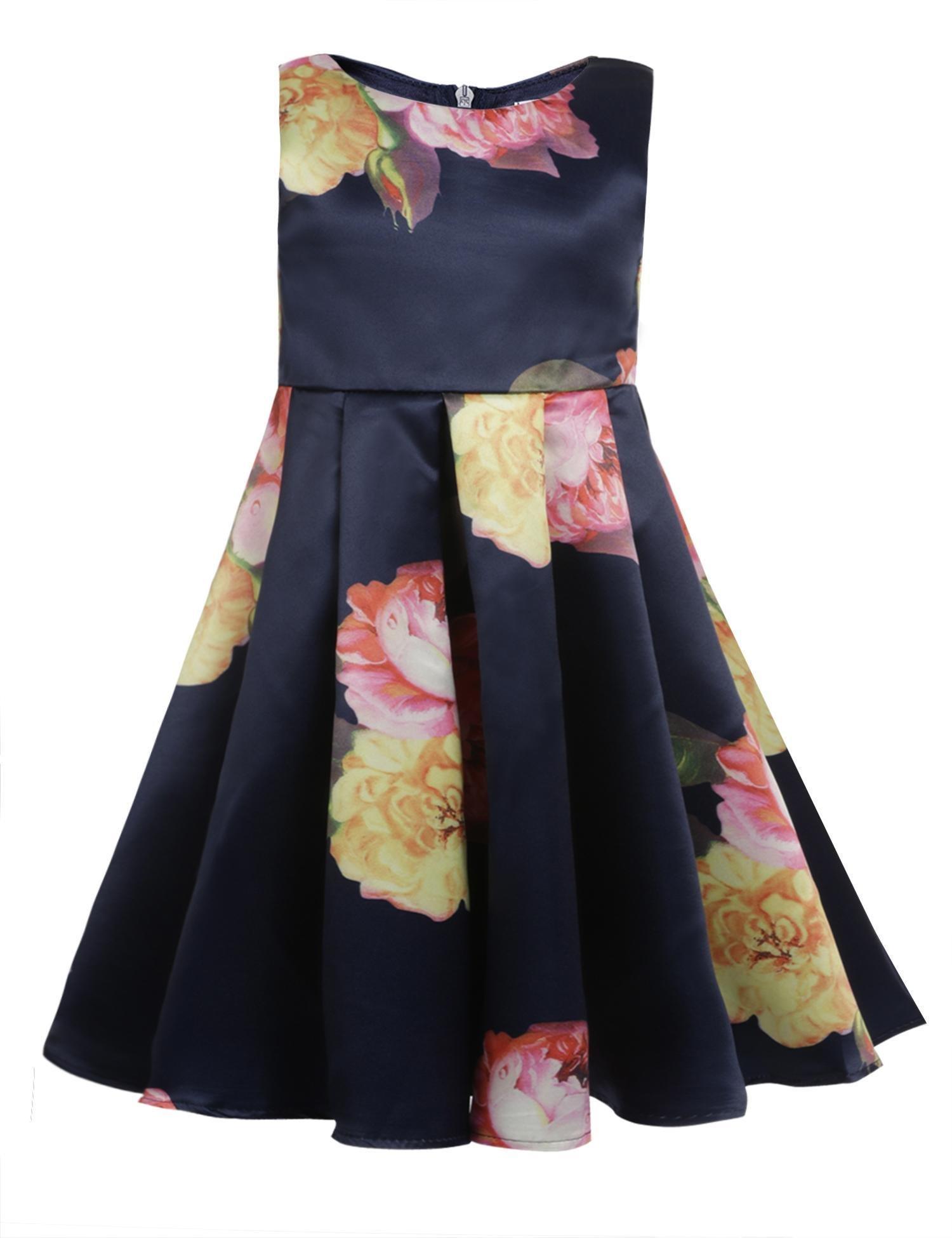 balasha Girls Sleeveless Round Neck Floral Printed Holiday Dress Size 2-9
