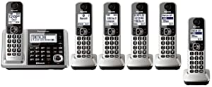 Panasonic KX-TGF375S + 1 KX-TGFA30S Handset (6 Handsets Total) Bluetooth Cordless Phone System with Dual Keypad (Certified Refurbished) (KX-TGF370S + 5, KX-TGF372S + 4, KX-TGF373S + 3, KX-TGF374S + 2)