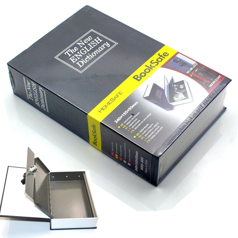 辞書Diversion Book Safe秘密セキュリティボックスwith強力なメタルケース内側とキーロックfor Stashお金現金ブラック B01LEOL3S8