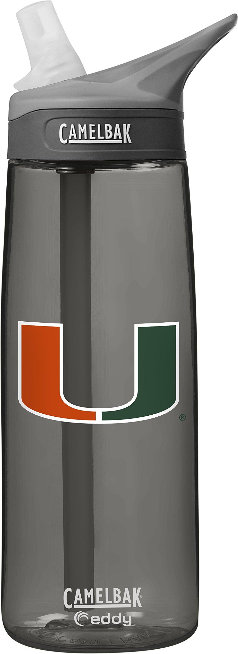 CamelBak NCAA Miami Hurricanes Unisex Eddy 75L Collegiate Water Bottle, Charcoal, 75 Liter