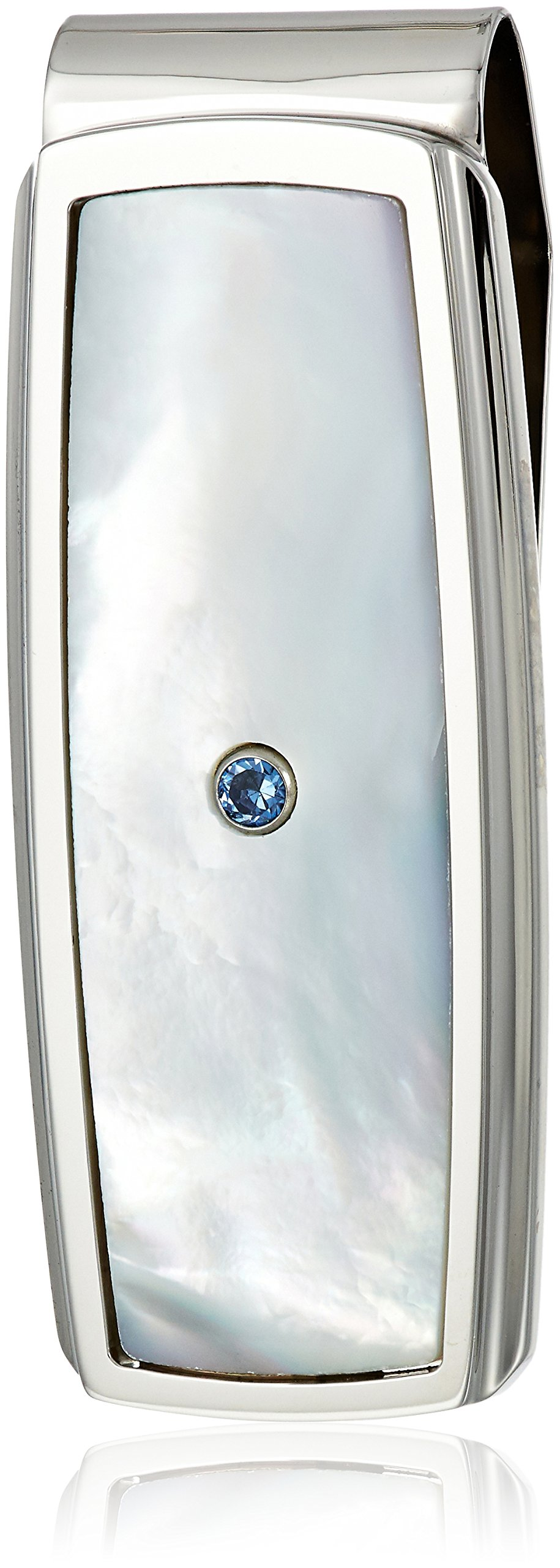 Men's Stainless Steel Mother of Pearl Inlay with Created Sapphire Accent Money Clip