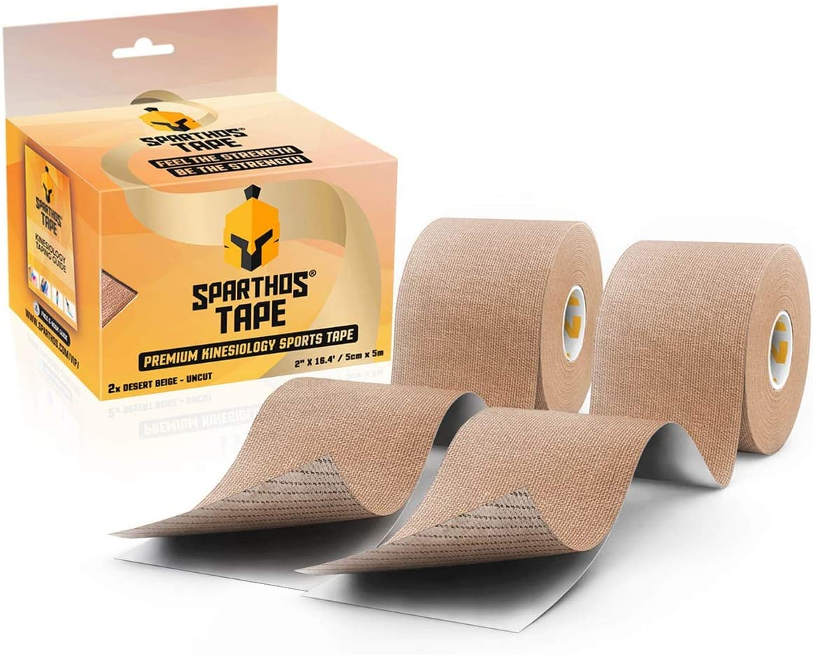 Sparthos Kinesiology Tape - Incredible Support for Athletic Sports and Recovery - Free Kinesiology Taping Guide! - Uncut 2 inch x 16.4 feet Roll