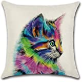 Artscope Throw Pillow Covers Farmhouse Decorative Cushion Cover 18 x 18 Inches Pillow Cover for Sofa Car Bedroom Living Room (Colorful Cat)