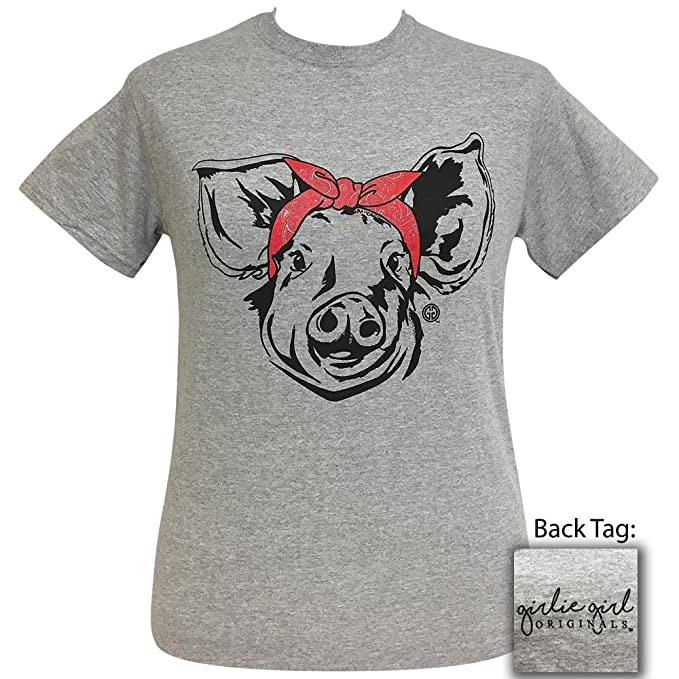 6baa373f7 Girlie Girl Paisley Bandana Pig Preppy Sport Gray Short Sleeve T-Shirt (X-