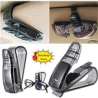 HuiHai Car Glasses Box Storage Holder with Magnetic Sunglasses Case Clip Ticket Card ABS Car Sun Visor Organizer Holder Accessories Black
