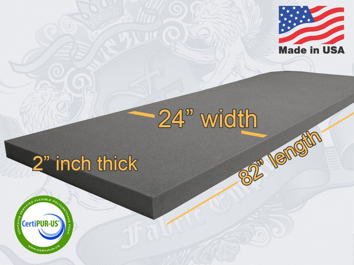 24x82 Upholstery Rubber Foam Sheet Cushion (Seat Replacement, Foam Padding) USA MADE NF33 (3 x 24 x 82 Rubber Foam Sheet) Fabric Empire FE-NF33CHAR-1233