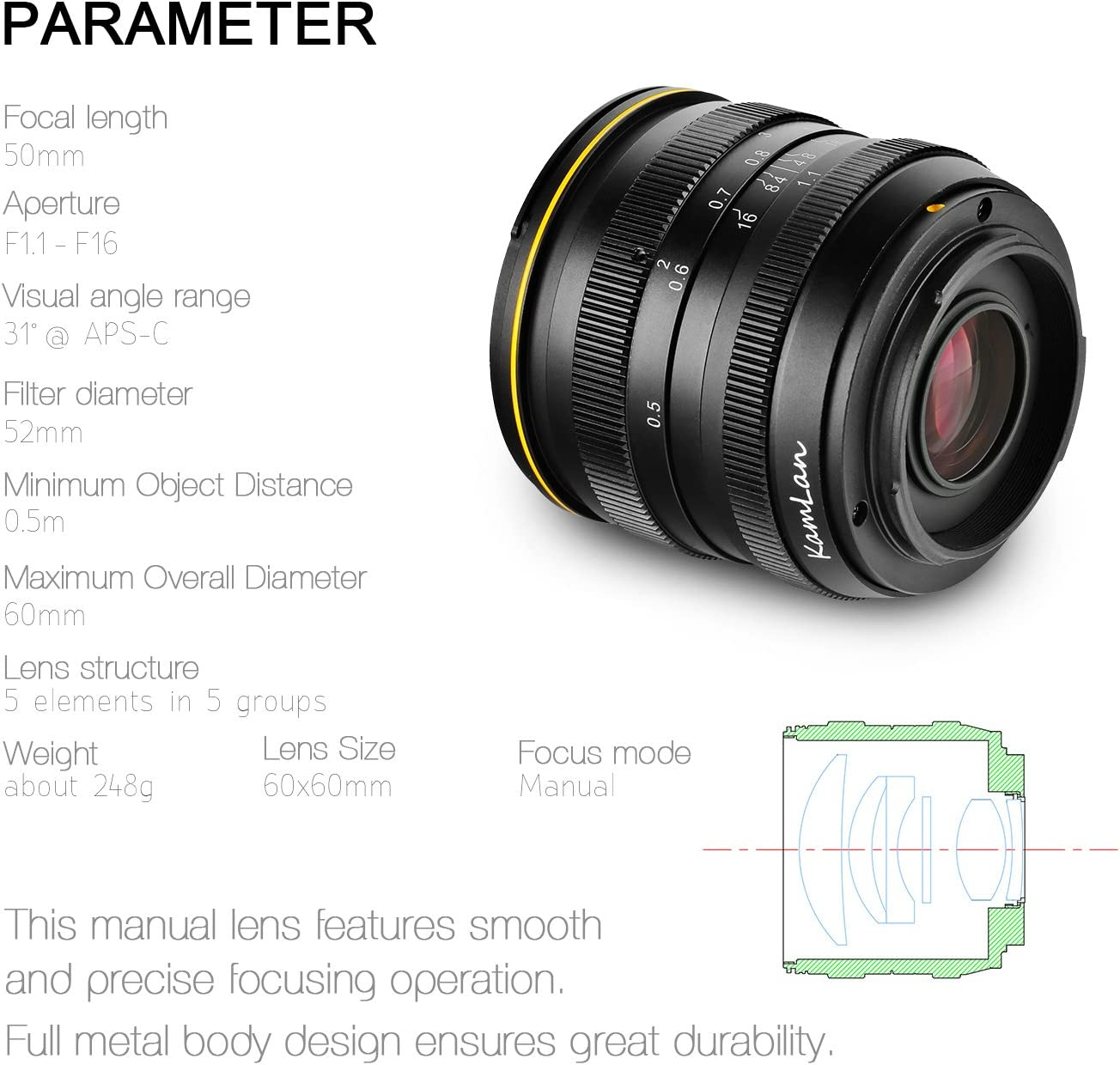 Kamlan 50mm F1 1 Aps C Große Blende Manueller Fixfokus Elektronik