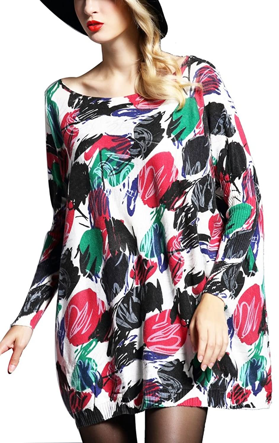 BlingZoe Women's Plus Size Sweater Splash-ink Painting Pullover Dress