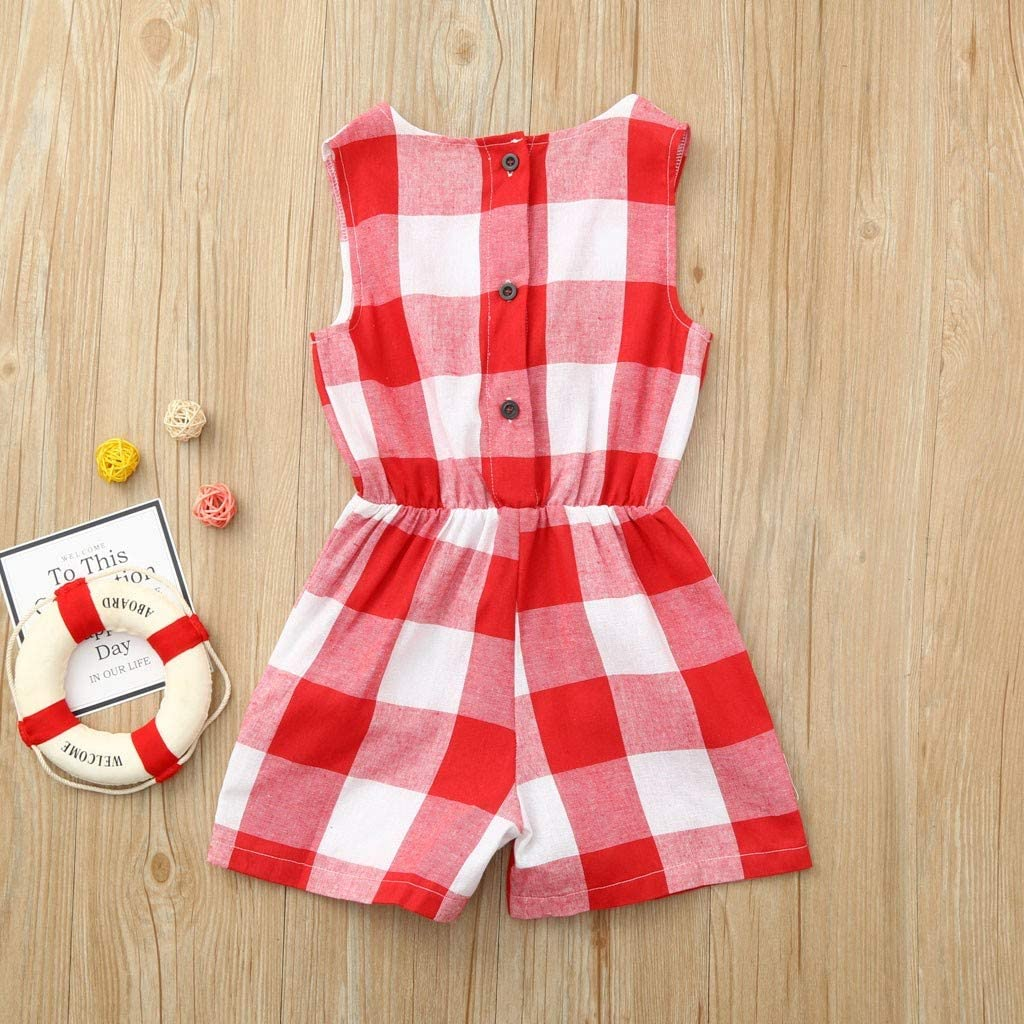 Fheaven Mother and Daughter Plaid Print Jumpsuit Romper Sleeveless Family Matching Clothes Outfit