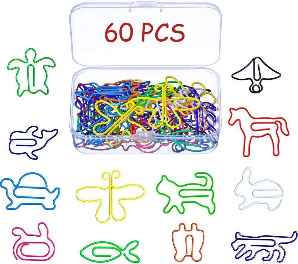 para Marcador de Libro Almohadilla de Agenda Cuaderno de Escuela de Oficina Papeler/ía y Suministros de Oficina Clips de Papel Multicolor Forma Animal Creativa 12 Estilos 60 piezas Clips de Metal