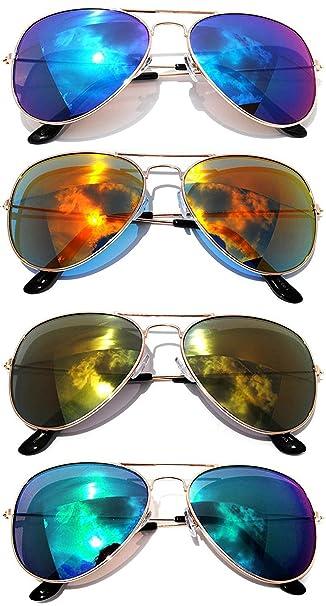 297c3452d201 Amazon.com  Classic Metal Aviator Sunglasses Mirror Lens Gold Color Frame 4  Pairs OWL.  Clothing