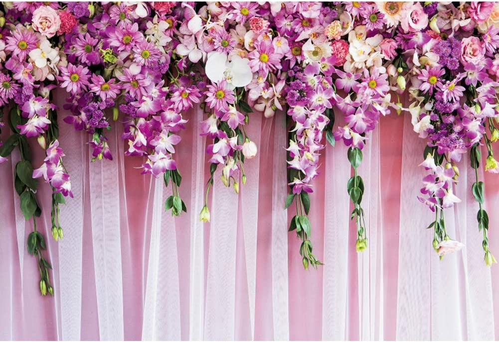OERJU 10x8ft Wedding Backdrop for Reception Purple Flowers Curtain Floral Valentine's Day Background for Photography Bridal Shower Decor Banner Anniversary Supplies Wedding Photo Background