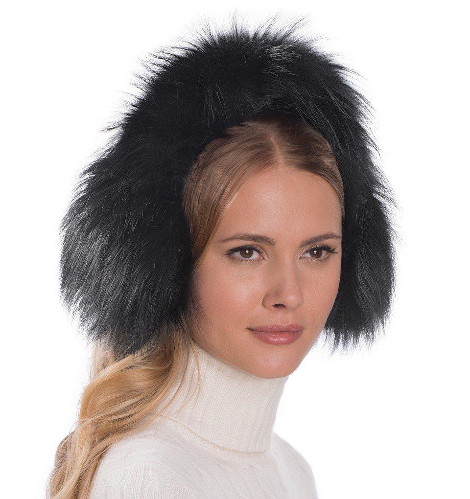 Eric Javits Luxury Fashion Designer Women's Headwear Hat - Fur EarMuffs - Black