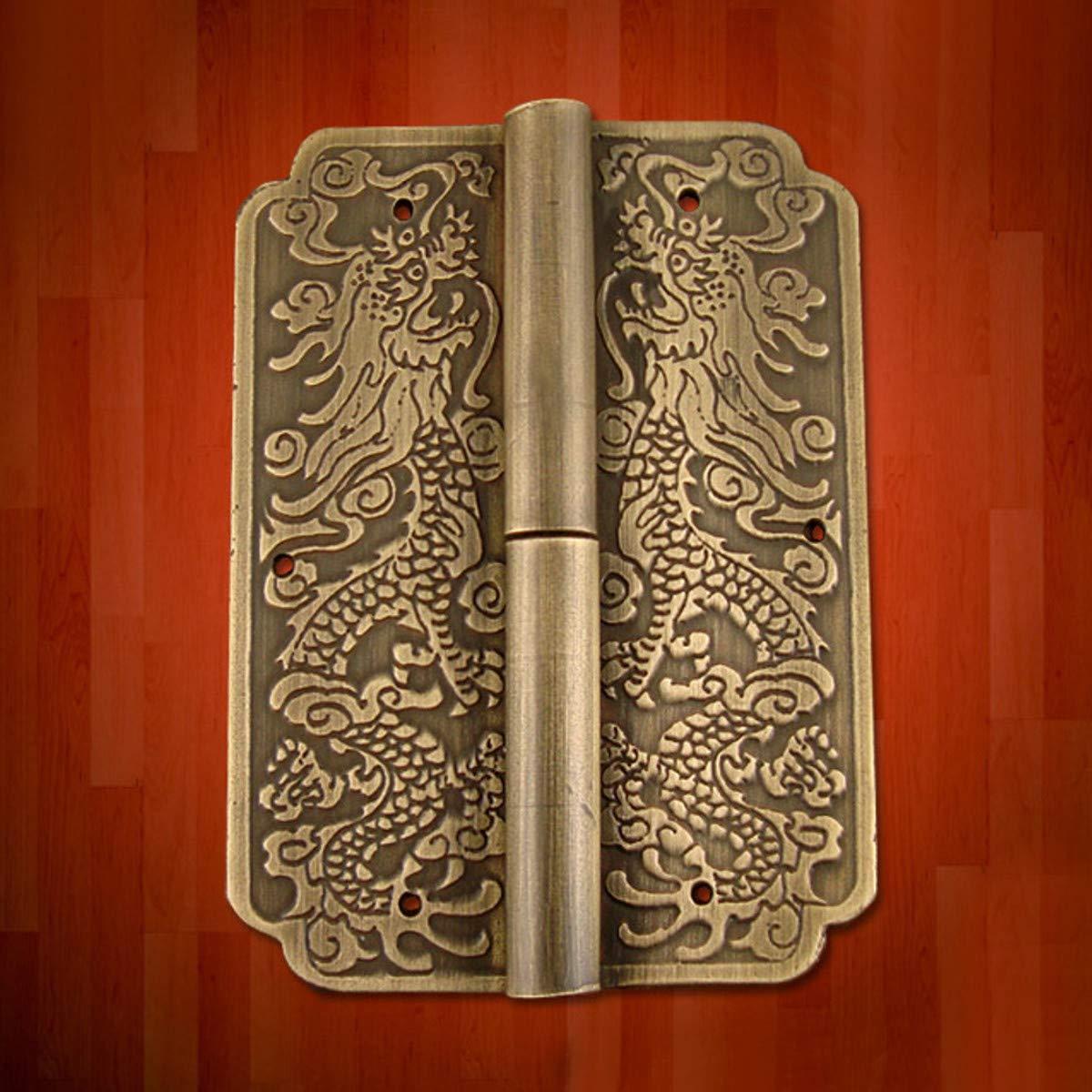 DyNamic Charni/ère De Porte Meubles Chinois En Laiton Quincaillerie Malle Armoire Porte Charni/ères Cuivre Dragon 3,15