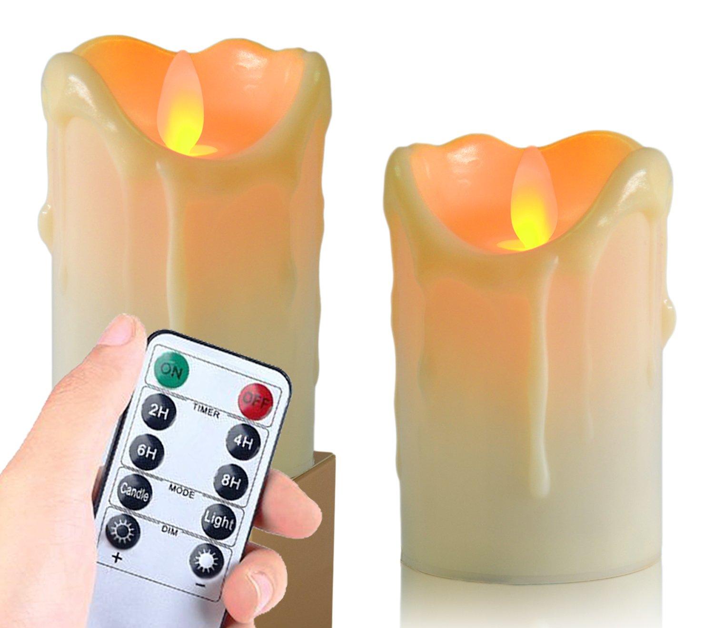 Flameless Candles、電池式LEDライトキャンドルちらつき – Drip TealightリアルなDancing炎で、10キーリモートタイマー(Set of 2 ) S ホワイト B07CXSLTVC 12923  ホワイト