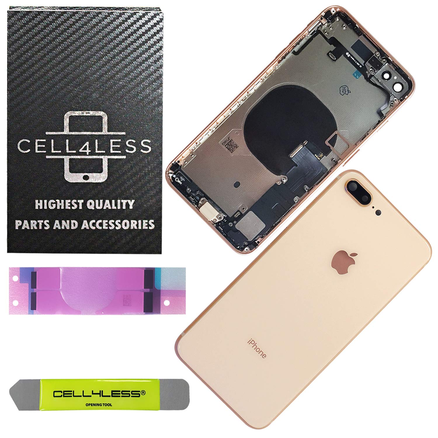 CELL4LESS Back Housing Assembly Metal MidFrame w/Major Components Pre-Installed Including Buttons for iPhone 8 Plus (Gold) by Cell4Less