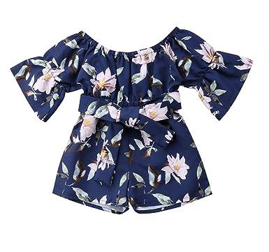828e7a65da0 Toddler Baby Girls Floral Printed Romper Playsuit Kids Bandage Off Shoulder  Jumpsuits (2-3