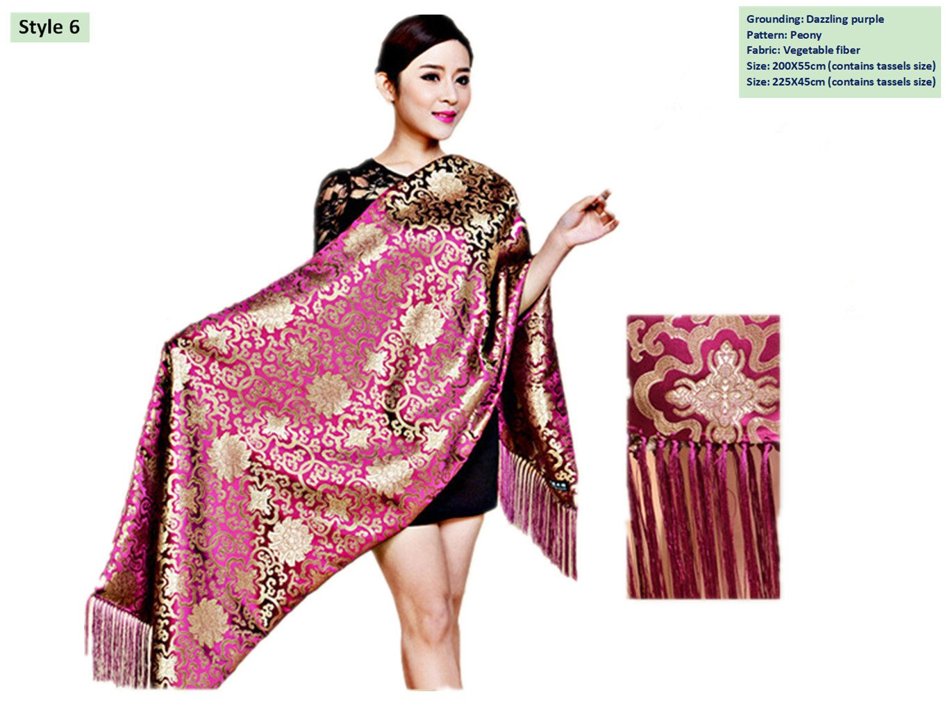Brocade Shawls Silk Scarves Big Size Business Gifts Handicrafts Stoles