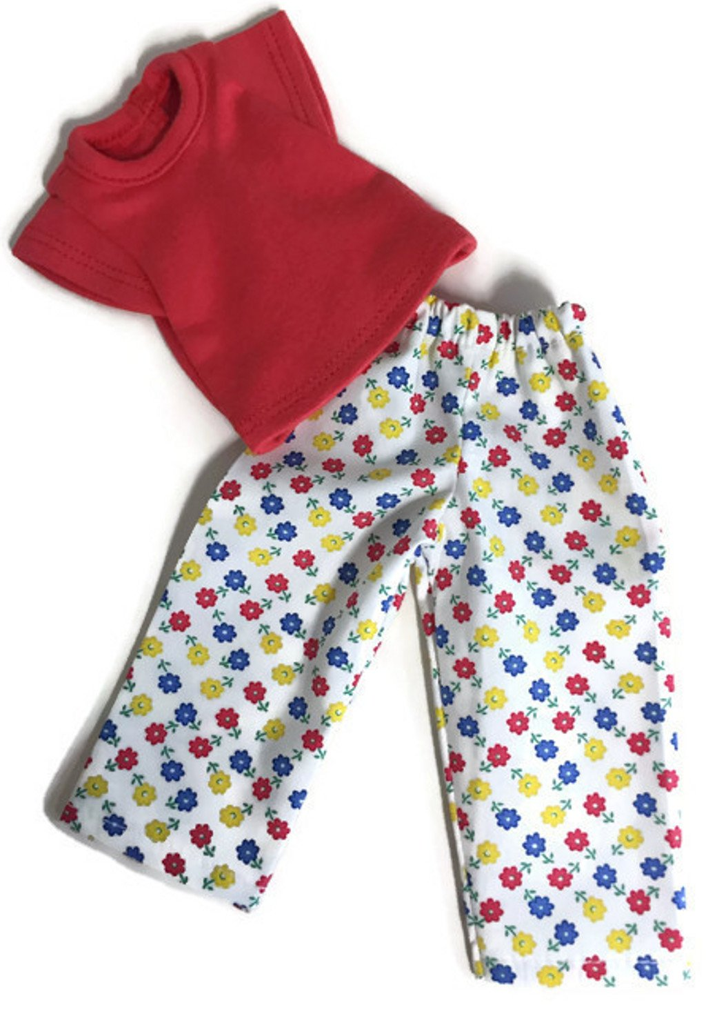 Doris Doll Boutique Red Knit Top and Flower Print Pants for 14 inch American Girl Wellie Wisher Doll China