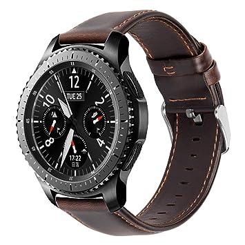 iBazal 22mm Correas Cuero Liberación Rápida Pulsera Compatible con Samsung Galaxy Watch 46mm,Gear S3 Frontier Classic,Huawei GT/2 Classic/Honor ...