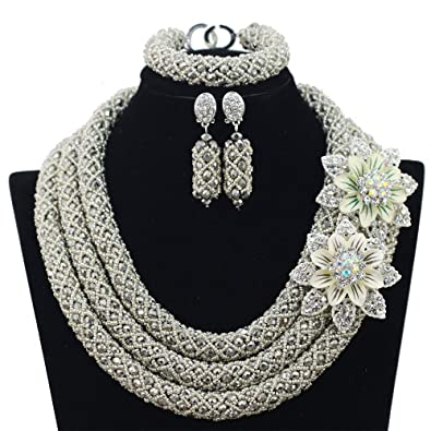 50b0be416 3 Rows Handmade Nigerian African Crystal Beads Jewelry Set Costume Bridal  Necklace (Silver)