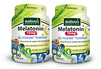Natures Essentials Melatonin 10mg (3mg Immediate Release & 7mg Extended Release) with Advanced Cyclosome