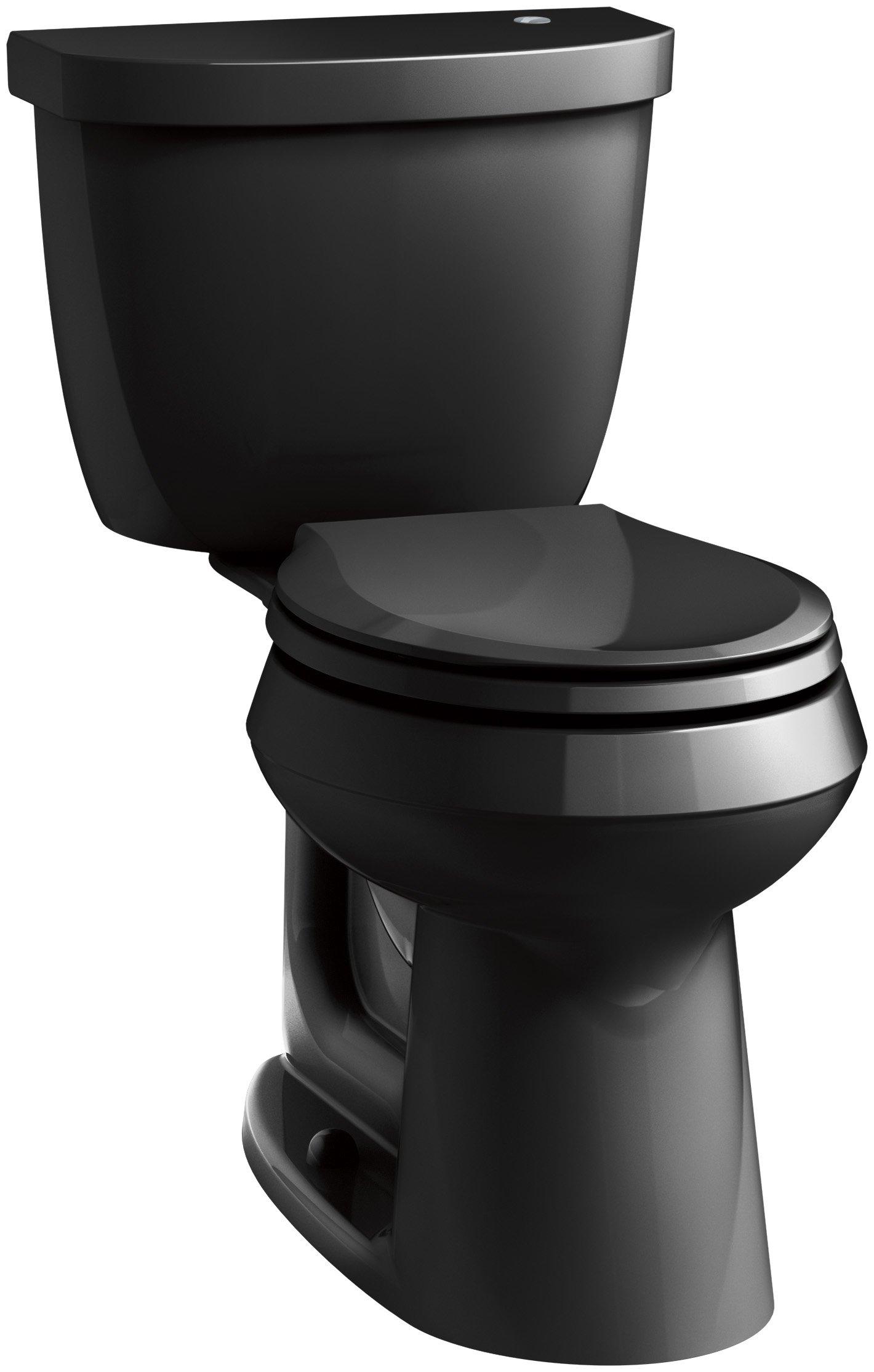 KOHLER K-6419-7 Cimarron Touchless Comfort Height 1.28 GPF Round Toilet with Aqua Piston Flushing Technology, Black, 2-Piece by Kohler