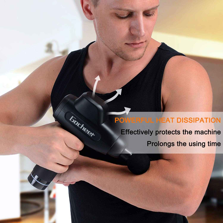 Gocheer Percussion Massage Gun,Handheld Deep Tissue Massager for Sore Muscle and Stiffness,Quiet Portable Massage Gun Support 20 Speed Adjustable,Professional Muscle Massager with 4 Massage Heads