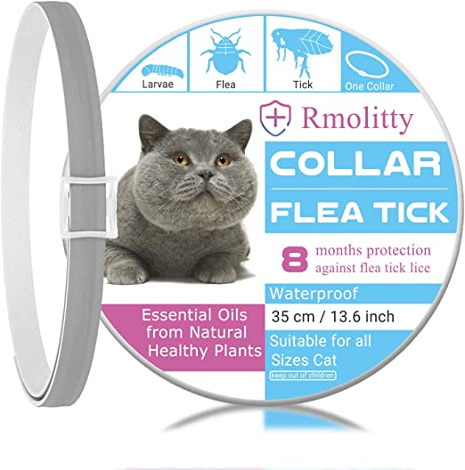 Rmolitty Collar Antiparasitario Gatos, Impermeable Tratamiento Natural de pulgas para Grande Mediano Pequeño Gatos, 8 Meses 35cm (35cm): Amazon.es: Productos para mascotas