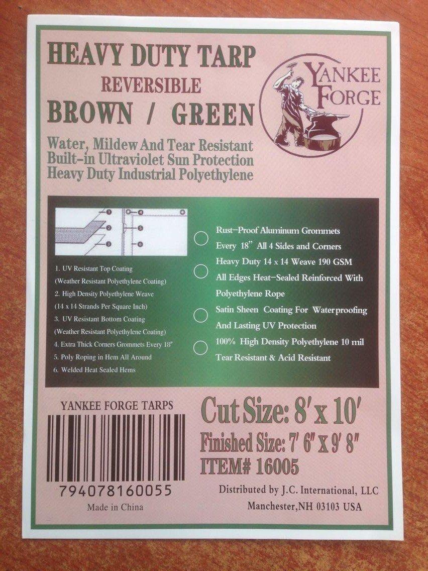 Heavy DutyリバーシブルTarps – グリーン/ブラウン – 14 x 14織り – UV Sun保護 8'x10' 16005 8'x10' 8'x10' B01GU9IBJ6