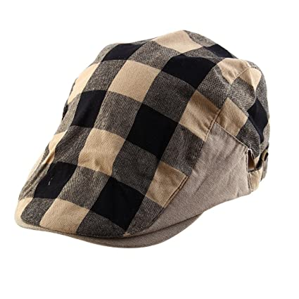 uxcell Men Women Plaid Pattern Summer Sun Newsboy Duckbill Ivy Cap Cabbie  Driving Golf Casual Flat 5bf7ad88b7c3