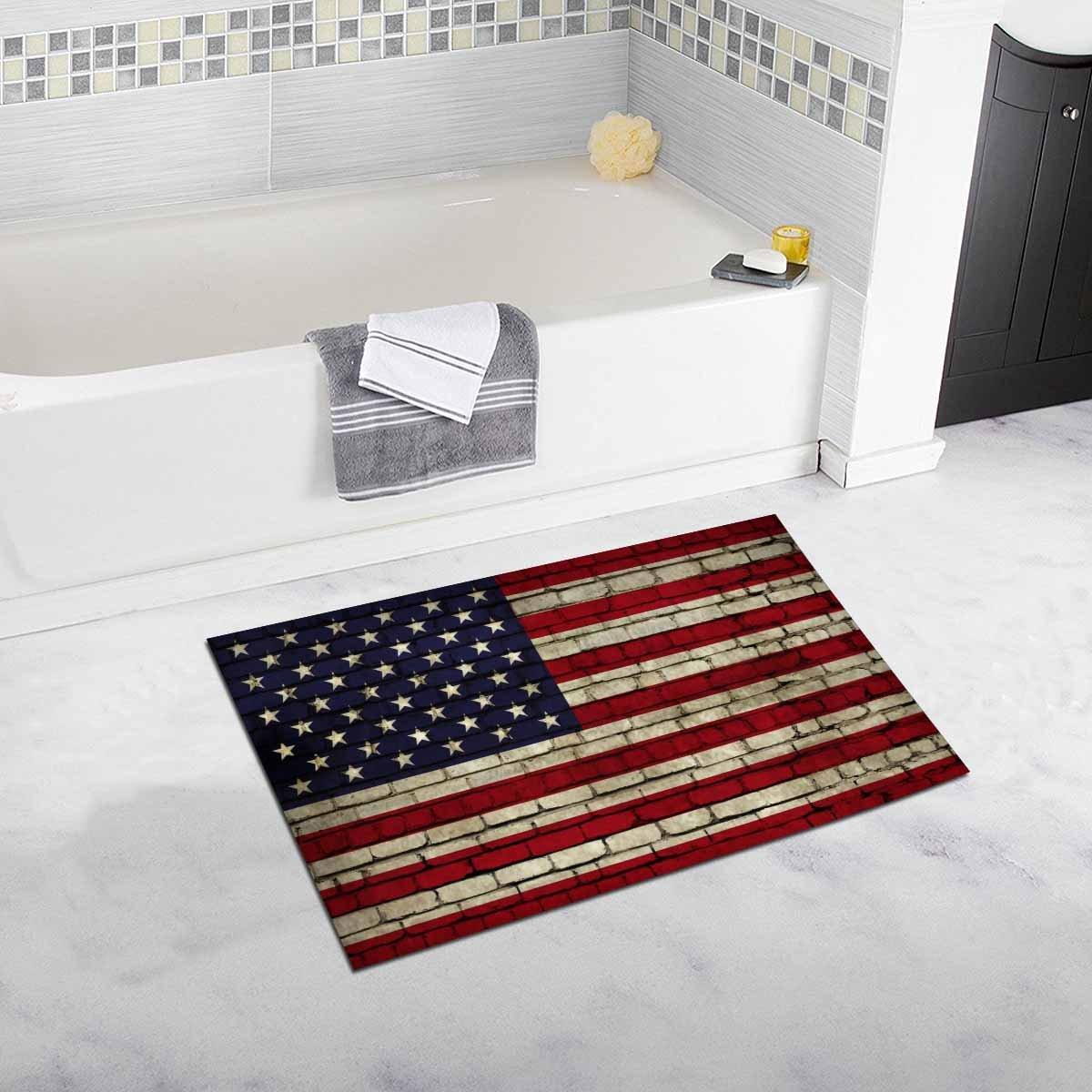 InterestPrint American Flag on the Wall Bath Rug Non-slip Bathroom Mat 20W X 32L Inches