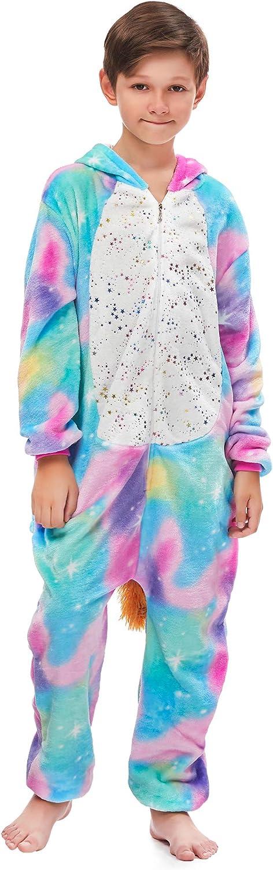 FunnyCos Unisex Kids Hooded Animal Onesie Supersoft Flannel Costume Pajamas Fancy Dress Playsuit Jumpsuit
