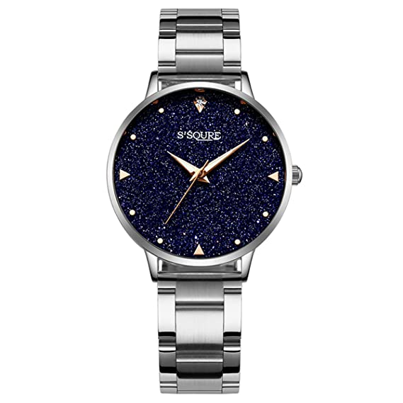 Alienwork Reloj Mujer Relojes Acero Inoxidable Plata Analógicos Cuarzo Negro Impermeable Esfera del mármol Verdadero