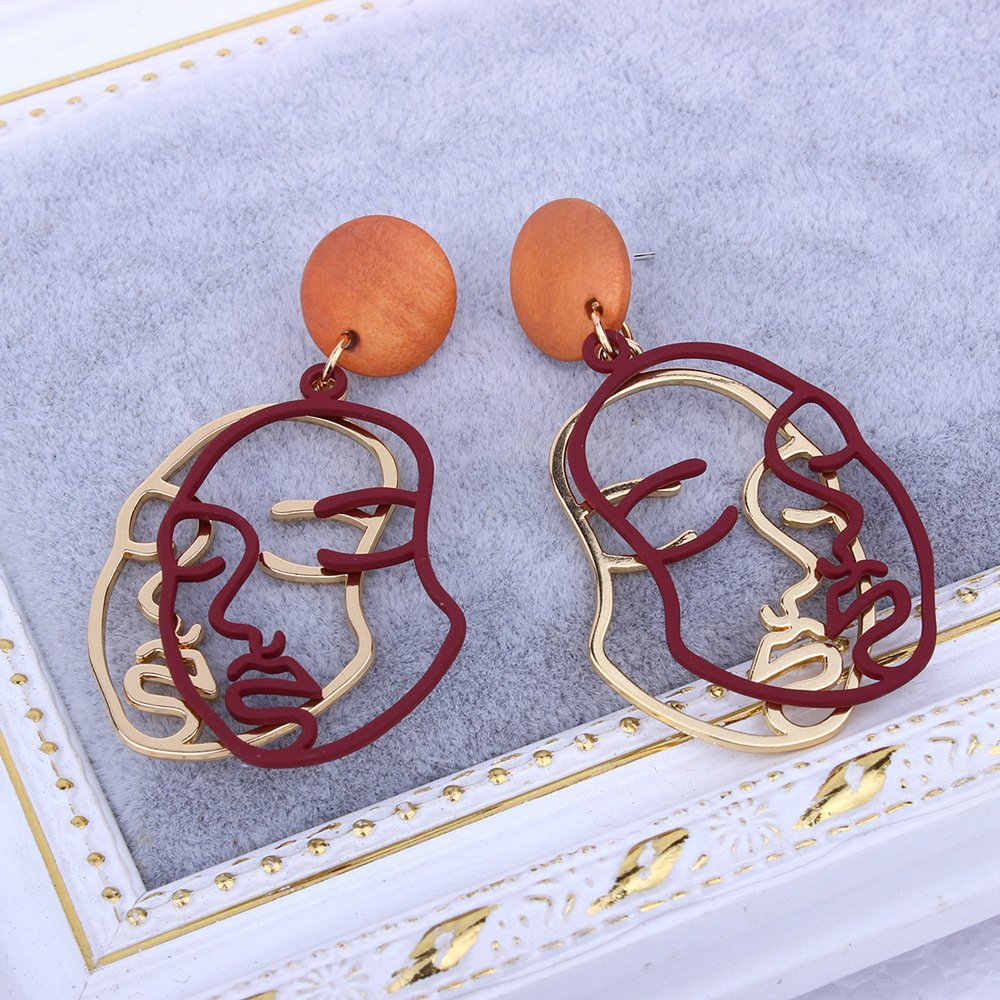 CHOA Double-Facial Contour Exaggerated Female Earrings/—Personality Punk Street Style Earrings for Young Girls and Fashion Ladies