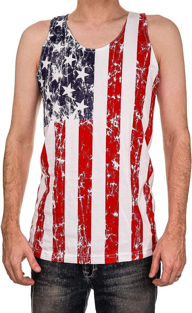 Calhoun USA Patriotic American Flag Men's Stars and Stripes Tank Top Shirt